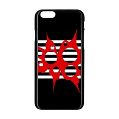 Red, black and white abstract design Apple iPhone 6/6S Black Enamel Case