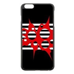 Red, black and white abstract design Apple iPhone 6 Plus/6S Plus Black Enamel Case