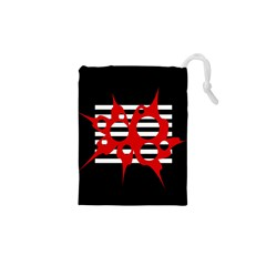 Red, black and white abstract design Drawstring Pouches (XS)