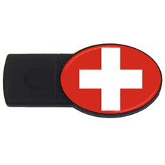 National Flag Of Switzerland USB Flash Drive Oval (1 GB)