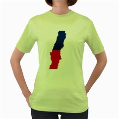 Flag Map Of Chile  Women s Green T Shirt