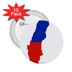 Flag Map Of Chile  2.25  Buttons (10 pack)