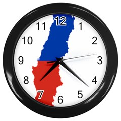 Flag Map Of Chile  Wall Clocks (black)