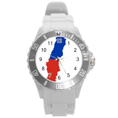 Flag Map Of Chile  Round Plastic Sport Watch (L)