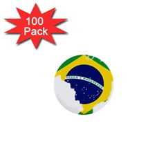 Flag Map Of Brazil  1  Mini Buttons (100 pack)