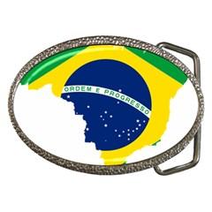 Flag Map Of Brazil  Belt Buckles