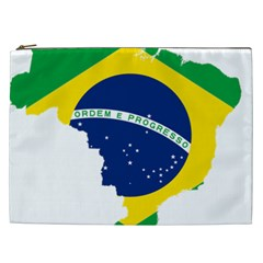Flag Map Of Brazil  Cosmetic Bag (XXL)