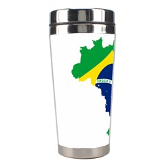 Flag Map Of Brazil  Stainless Steel Travel Tumblers