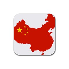 Flag Map Of China Rubber Coaster (Square)