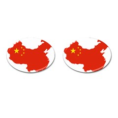 Flag Map Of China Cufflinks (Oval)