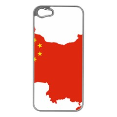 Flag Map Of China Apple iPhone 5 Case (Silver)