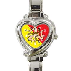 Coat Of Arms Of Sicily Heart Italian Charm Watch