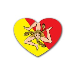 Coat Of Arms Of Sicily Heart Coaster (4 pack)
