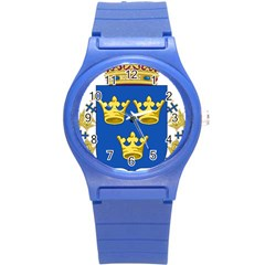 Lesser Coat Of Arms Of Sweden Round Plastic Sport Watch (S)