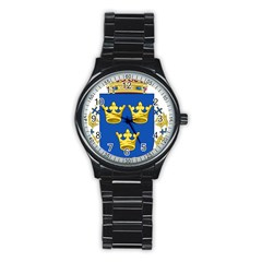 Lesser Coat Of Arms Of Sweden Stainless Steel Round Watch