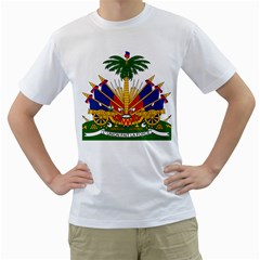 Coat Of Arms Of Haiti Men s T-Shirt (White) (Two Sided)