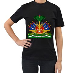 Coat Of Arms Of Haiti Women s T-Shirt (Black) (Two Sided)