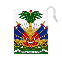 Coat Of Arms Of Haiti Drawstring Pouches (Large)