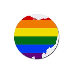 Lgbt Flag Map Of Ohio  Rubber Coaster (Round)