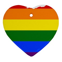 Lgbt Flag Map Of Ohio  Heart Ornament (2 Sides)