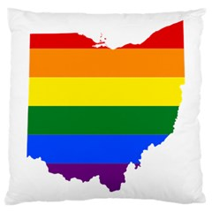 Lgbt Flag Map Of Ohio  Large Cushion Case (Two Sides)