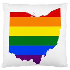 Lgbt Flag Map Of Ohio  Large Flano Cushion Case (Two Sides)
