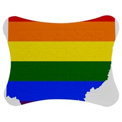 Lgbt Flag Map Of Ohio  Jigsaw Puzzle Photo Stand (bow)