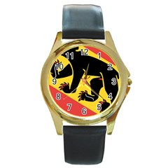 Coat Of Arms Of Bern Canton  Round Gold Metal Watch