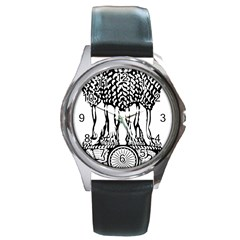 Emblem Of India Round Metal Watch