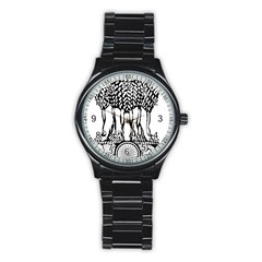 Emblem Of India Stainless Steel Round Watch