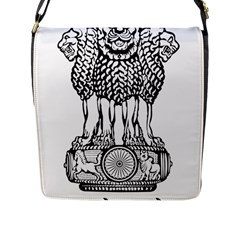 Emblem Of India Flap Messenger Bag (L)