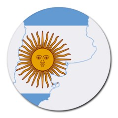 Flag Map Of Argentina Round Mousepads