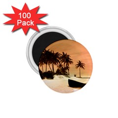 Wonderful Sunset Over The Beach, Tropcal Island 1.75  Magnets (100 pack)