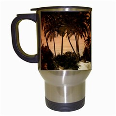 Wonderful Sunset Over The Beach, Tropcal Island Travel Mugs (White)