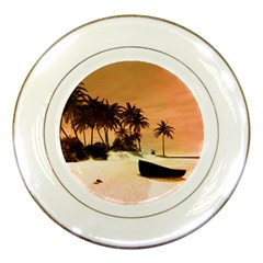 Wonderful Sunset Over The Beach, Tropcal Island Porcelain Plates