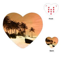 Wonderful Sunset Over The Beach, Tropcal Island Playing Cards (Heart)