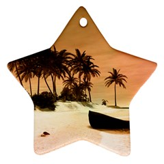 Wonderful Sunset Over The Beach, Tropcal Island Star Ornament (Two Sides)