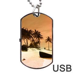 Wonderful Sunset Over The Beach, Tropcal Island Dog Tag USB Flash (Two Sides)