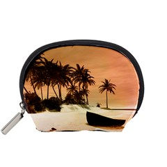 Wonderful Sunset Over The Beach, Tropcal Island Accessory Pouches (Small)