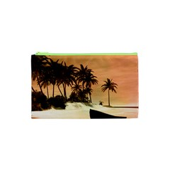 Wonderful Sunset Over The Beach, Tropcal Island Cosmetic Bag (xs)