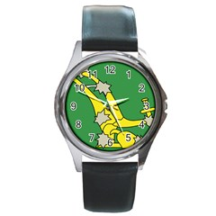 Starry Plough Flag Round Metal Watch