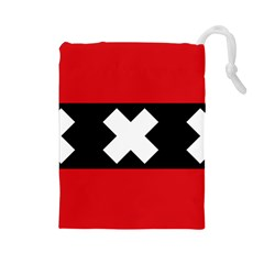 Flag Of Amsterdam Drawstring Pouches (Large)