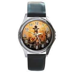 Funny, Cute Giraffe With Sunglasses And Flowers Round Metal Watch