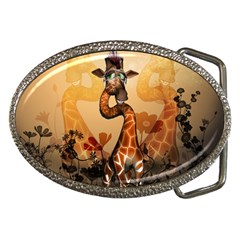 Funny, Cute Giraffe With Sunglasses And Flowers Belt Buckles