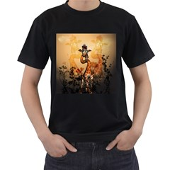Funny, Cute Giraffe With Sunglasses And Flowers Men s T-Shirt (Black) (Two Sided)