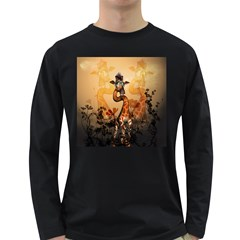Funny, Cute Giraffe With Sunglasses And Flowers Long Sleeve Dark T-Shirts