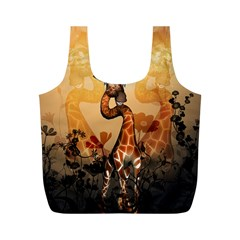 Funny, Cute Giraffe With Sunglasses And Flowers Full Print Recycle Bags (M)