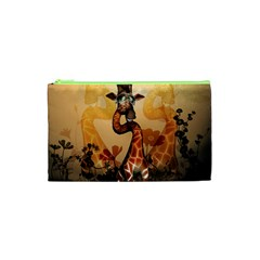 Funny, Cute Giraffe With Sunglasses And Flowers Cosmetic Bag (xs)