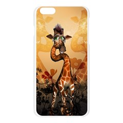 Funny, Cute Giraffe With Sunglasses And Flowers Apple Seamless iPhone 6 Plus/6S Plus Case (Transparent)