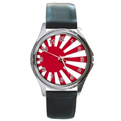 Ensign Of The Imperial Japanese Navy And The Japan Maritime Self Defense Force Round Metal Watch